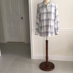 LL Bean Small cotton flannel Gray plaid shirt